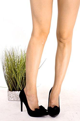 Scarpe Dinastia Scamosciata Point Toe Bow-tie Accento Anteriore Stiletto Tacchi Alti Pompa Scarpe Blacksuedepu