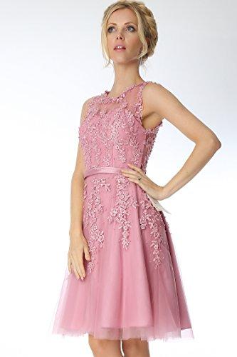 vestido la SEXYHER c¨®ctel Apliques de longitud honor COJ1805 de rodilla DuskyPink de de damas 4C Fqxn4X1nt