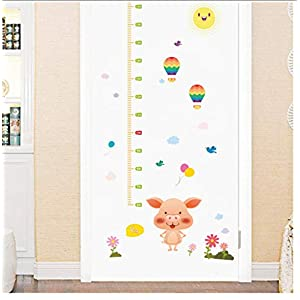 Buzdao Cartoon Pink Pig Height Measure Wall Sticker for Nursery Kids Rooms Wall Decals Growth Chart Bedroom Wall Vinyl Mural Art DIY