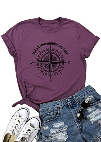 Not All Who Wander are Lost Women Travel T Shirt Compass Graphic Baseball Tee Short Sleeve Cotton Casual Tops (S, ()