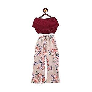 ANANDESHWAR Girl's Crepe Top & Floral Print Palazzo