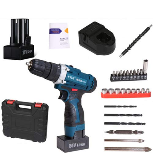 FLB 12V-25v Cordless Drill Charging Screwdriver Home Electric Rechargeable Multi-Function Flashlight Drill,25v1batteryaccessories