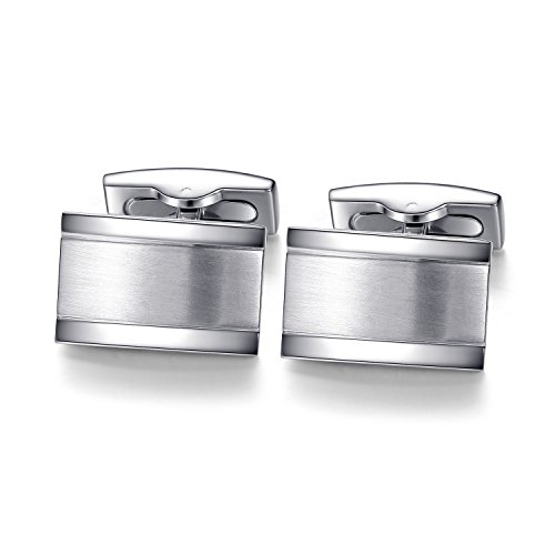 Honey+Bear+Cufflinks+For+Mens+-+Rectangle+Stainless+Steel%2C+for+Business+Wedding+Gift%28Silver%29