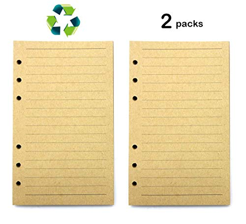 2 Pack-Filler Paper/Lined Refill Paper for A6 Loose Leaf Binder Notebooks Journals/(Kraft Horizontal Lined)Resistant to Feathering and Bleeding