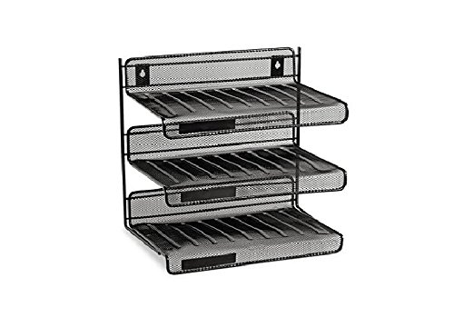 Rolodex 22341 Mesh Three-Tier Letter Size Desk Shelf 10 x 7 x 9 3/8 Black