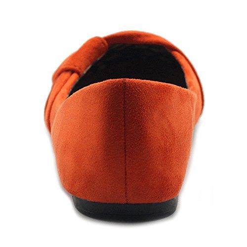 Ollio Scarpe Da Donna Pelle Scamosciata Finta Pelle Scamosciata Balletto Decorativo Arancione