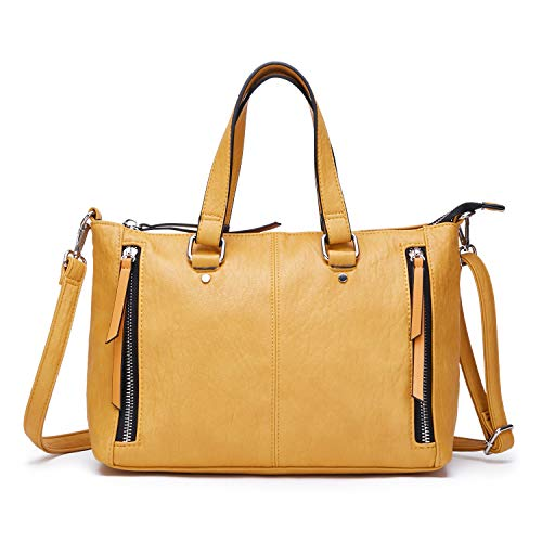 AFKOMST Yellow Purses and Handbags for Women Top Handle Tote Soft Shoulder Bags and Satchels for Work