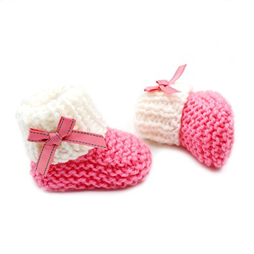 Pictures of Magic Needles Hand Knit Crochet Turkish Yarn Baby Booties - 4070 (3-6 Mths Toe to Heel 11 cms) Pink/White 1