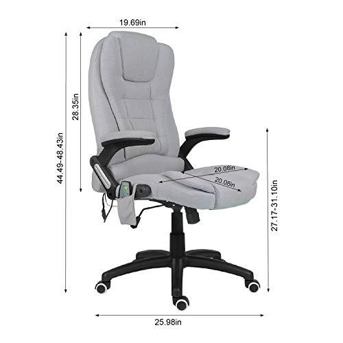 Kontorsstol med 6 punkter massage dator skrivbordsstol ergonomisk stol armstöd verkställande stol (grått tyg)