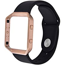 For Fitbit Blaze Band,TOROTOP Small Soft Silicone Replacement Sport Strap Band+Rose Gold Frame with Quick Release Pins for Fitbit Blaze Smart Fitness Watch (Small Black band+Rose Gold Frame)