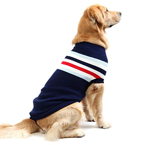 - Fashion Striped Dog Sweater Vest Warm Coat Soft Knitting Wool Winter Sweaters Knitted Crochet Coat Clothes for Small Middle Large Pet Dogs (16