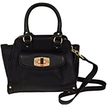 "Merona Double Handle Faux Leather Black Handbag w Shoulder Strap (11""W x 8""H x 5""D)"