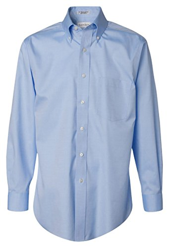 Van Heusen V0143 Mens Long-Sleeve Non-Iron Pinpoint Oxford - Blue Mist, 2XL (80s Outfits For Sale)