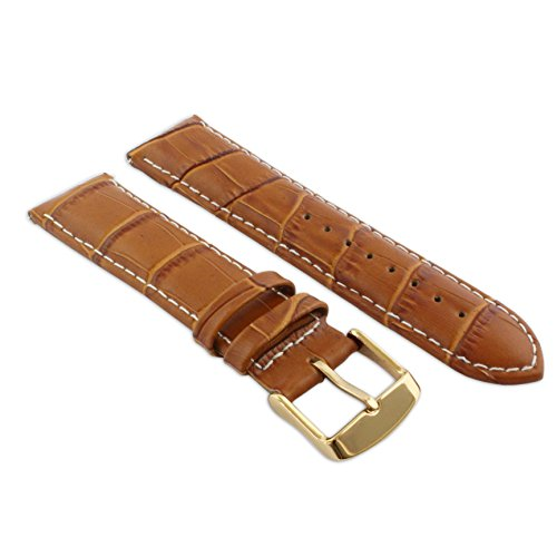22mm Tan & White Genuine Leather Mock Croc Watch Strap Band Mens Crocodile Padded Rose Gold Buckle