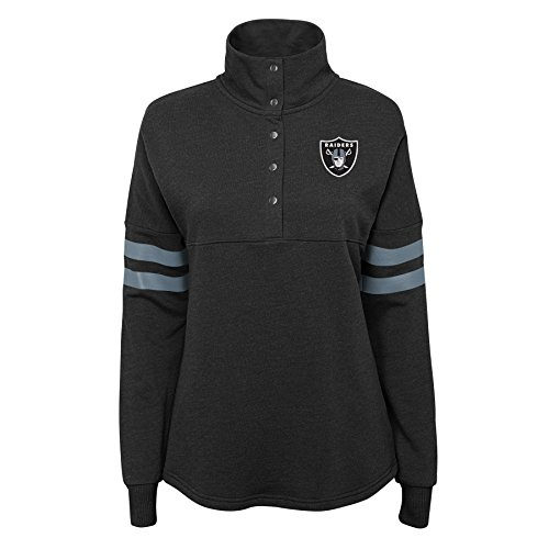 Outerstuff NFL NFL Oakland Raiders Juniors Classic Throw Varsity 1/4 Snap Pullover Top Black, Juniors X-Large(15-17)