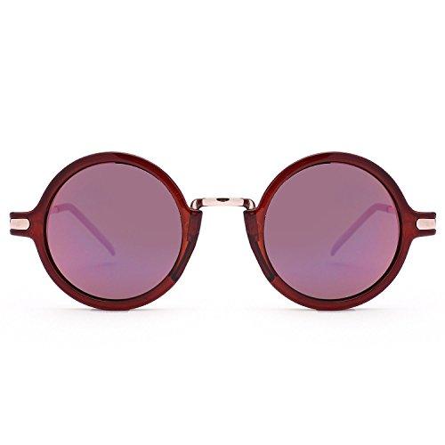 rétro Transparent soleil femmes et de Revo lunettes de Rouge Lunettes Thé À soleil CHshop rondes hommes Pied IvaxxA
