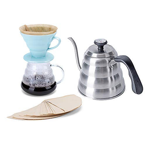 Pour Over Coffee Maker Set - Includes Coffee Carafe Pour Over Coffee Kettle with Thermometer (1.2L up to 40 oz.), V60 Paper Coffee Filter, Coffee Dripper and Glass Range Coffee Server