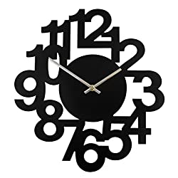 A.Cerco Creative Modern Decorative Quiet Black 3D Hollow Cluster Number Analog Wooden Wall Clock, Battery Operated Accurate Movement, Aesthetic Home Decor for Living Room, Kitchen, Bedroom, Office