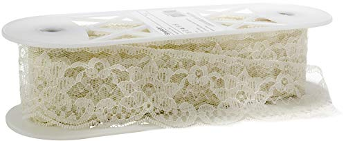 Simplicity 1862485029 Beige Lace Trim Double Daisy Sewing Supplies, 12 Yards Long and 1.5'' W, Multi-Colored (1/2' Mini Tassel 1)