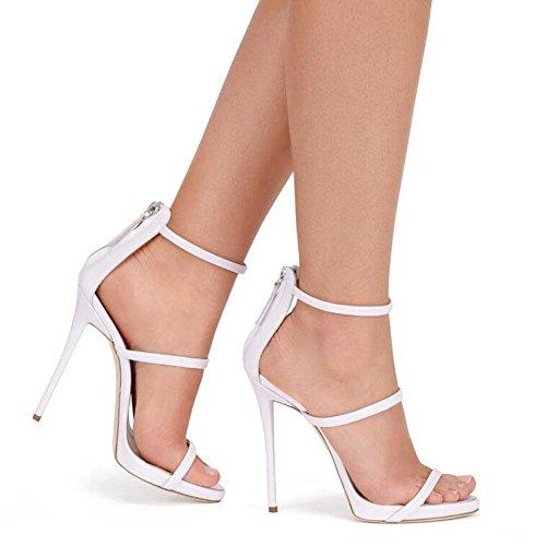 L@YC Mujeres De Verano De Tacones altos Piel Brillante Bolsa abierta Con Sandalias Vestido De Danza Vestido De La Bomba White