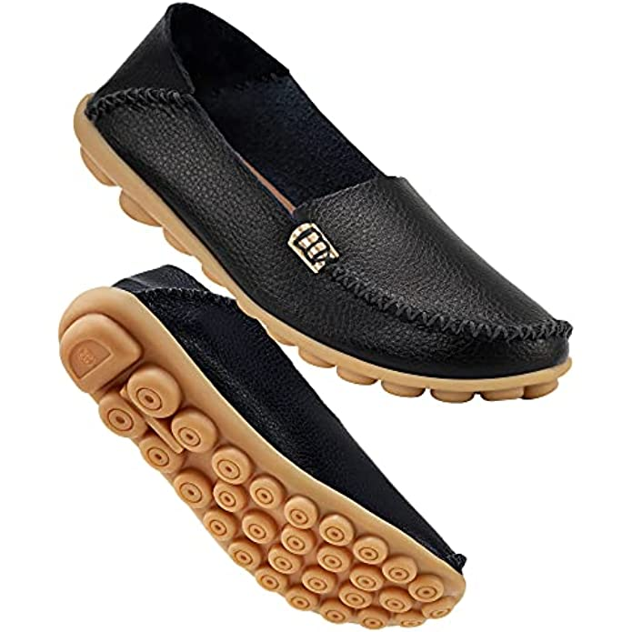 DUOYANGJIASHA Women's Comfortable Leather Loafers Casual Round Toe Moccasins Wild Driving Flats Soft Walking Shoes Women Slip On