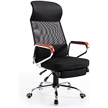 Hom Mesh High Back Reclining Executive fice Chair with Footrest Black