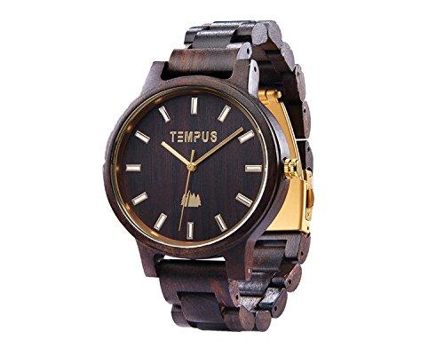 Mens Classico Analog Watch - TEMPUS Classico - Black Sandalwood Men's Wood Watch Wooden Dress Watch Wristwatch - TWW-02 - Gift for Men