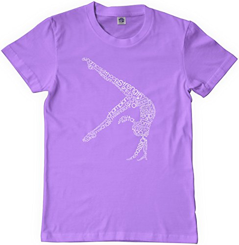 Threadrock Big Girls' Gymnast Typography Design Youth T-shirt M Lavender - Gymnastics Youth T-shirt