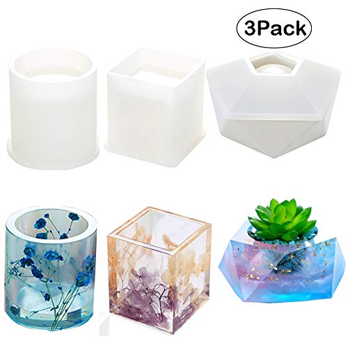Resin Silicone Mold,Velidy DIYResin Art Molds Including Round, Square,Hexagon Silicone Molds for Concrete, DIY Coaster/Flower Pot/Ashtray/Pen Candle Holder - Mold Pot