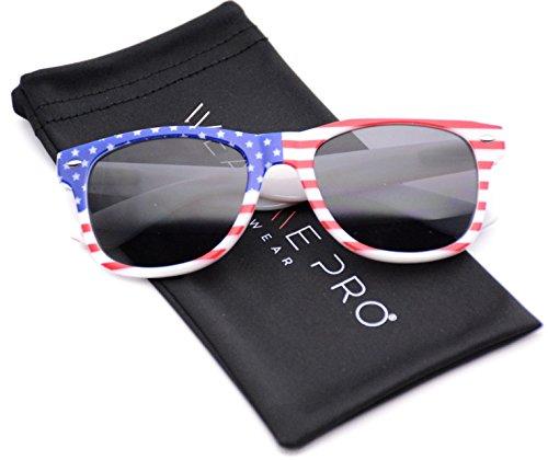 WearMe Pro - American USA Flag Horn Rimmed Sunglasses Retro 80s Mirror Lenses Full Black Lens