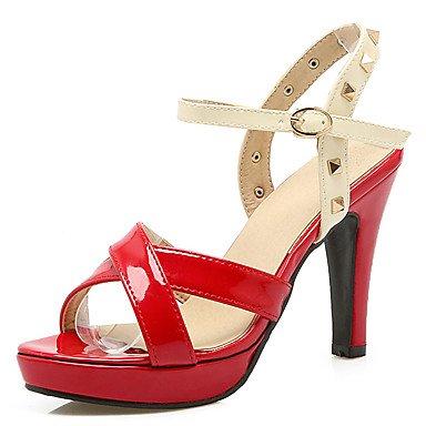 LvYuan Mujer-Tacón Robusto-Otro-Sandalias-Boda Exterior Oficina y Trabajo Vestido Informal Fiesta y Noche-PU-Negro Rojo Red