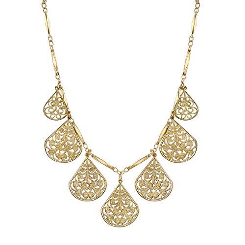 1928 Jewelry Gold-Tone Vine Filigree Teardrop Adjustable Collar Necklace, 16