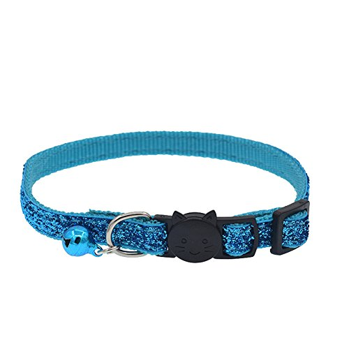 (eroute66 Fashion Glitter Cat Kitten Collar with Bell Safety Buckle Adjustable Pet Supply - Water Blue)