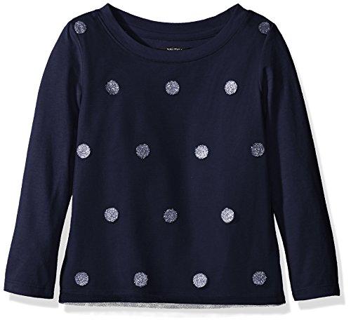 Nautica Big Girls' Knit Top With Mesh Overlay and Glitter Dot, Navy, - Mesh Shirt Dot