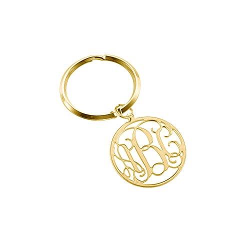 Golden Buddha Halloween Costume (Ouslier 925 Sterling Silver Personalized Monogram Key Chain Custom Made with 3 Initials (Golden))