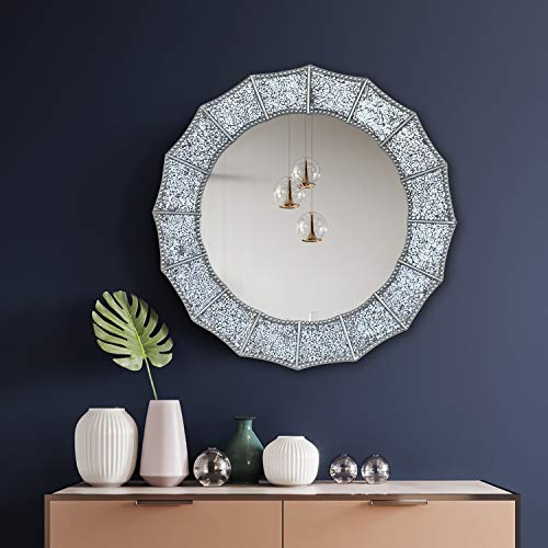 COMMODA Crackle Glass Mosaic Decorative Accent Wall Mounted Mirror in sunbrust Shapes -