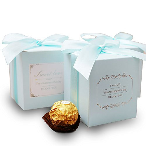 Doris Home 50 pcs 250GSM 2.8X2.8X3.1inch Blue Birthday Wedding Party Favor, Wedding Gift Bags Chocolate Candy and Gift Boxes with Ribbon Bridal Shower Party Paper Gift Box]()