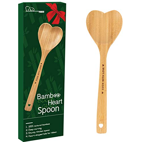Bamboo Heart Spoon with Gift Box- Heart Shaped Bamboo Love Spoon Engraved with COOK WITH LOVE Heart Kitchen Utensil with…
