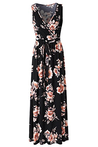 Zattcas Womens V Neck Sleeveless Empire Waist Floral Maxi Dress … (Large, Black Orange) - Floral Empire Dress