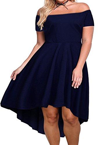 Nemidor Women's Off Shoulder Short Sleeve High Low Plus Size Cocktail Skater Dress(26W,Navy)