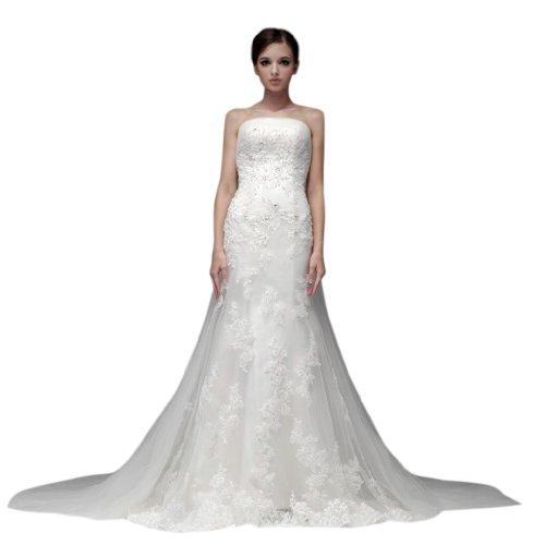 Tulle Train Court Strapless Mermaid Wedding Women's Trumpet White Dearta Dresses BYwq4WUOxn