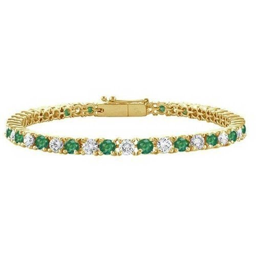 Bling Jewelry Green White Alternating Round CZ Tennis Bracelet for Women Simulated Emerald Cubic Zirconia 14K Gold Plated Brass 7.5In