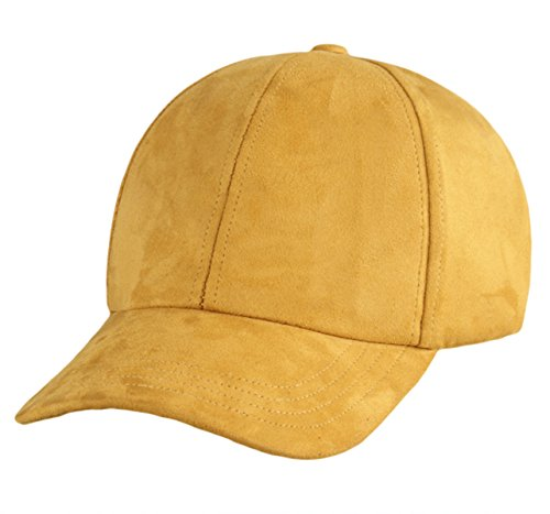 IL Caldo Faux Suede Peaked Cap Classic Adjustable Hip-hop Hat Baseball Cap,Golden (Headdress Faux Suede)