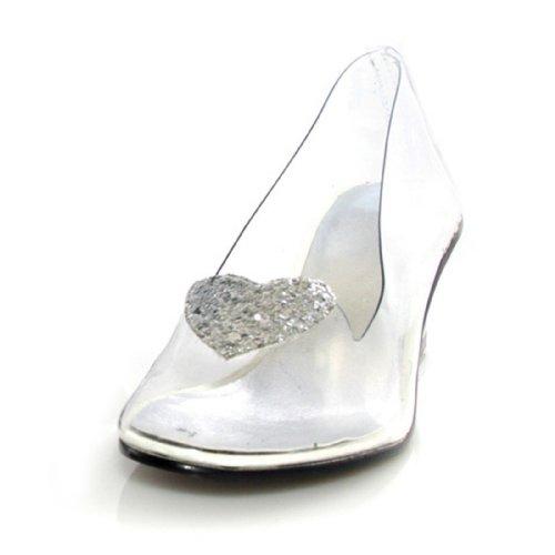 Glitter Heart Clear Child Heels, Clear, Size 2/3 ()