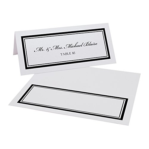 Double Line Border Place Cards, White, Black, Set of 375 by Documents and Designs
