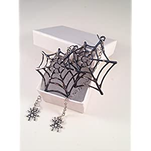 Katara Decor – Spider Web Earrings Rhinestone Halloween