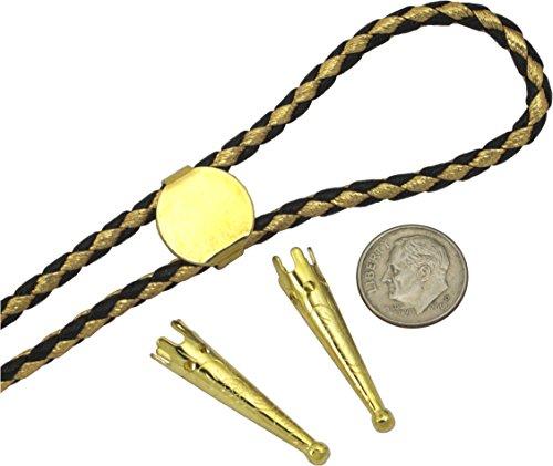(Bolo Tie Parts - TWO Bolo Tips + 16mm Slide Gold Tone+ 35