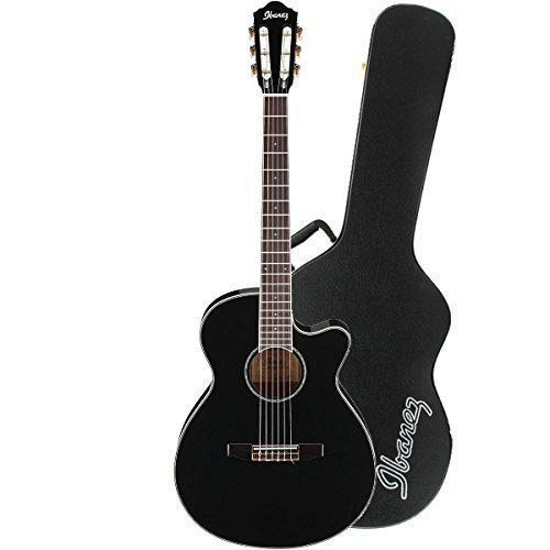 Ibanez AEG10NIIBK Acoustic Electric Guitar in Mahogany Black Finish with Ibanez AEG10C Hardshell Case for AEG Guitars (Ibanez Nylon Cutaway Guitar)