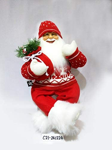 JMISA 24 Sitting Santa Claus Christmas Figure Red Sweater with Fur Boots