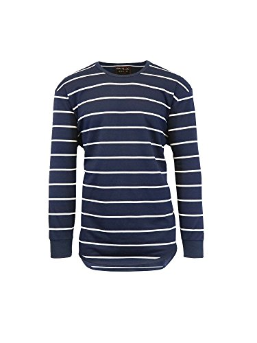 French Striped Fabric (Galaxy by Harvic Men's Long Sleeve French Terry Striped Scallop Bottom T-Shirt)